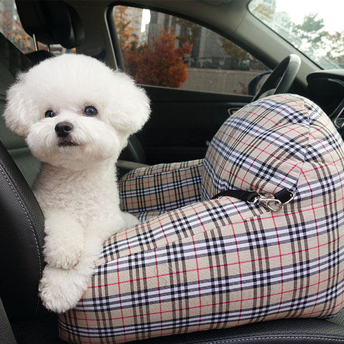 Plaid Pet Car Seat with Safety Belt