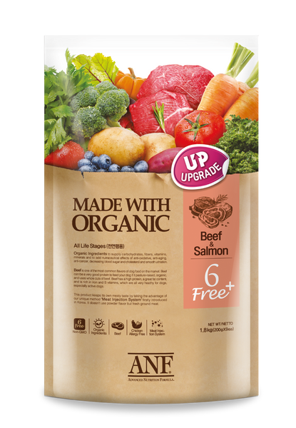 6 Free Made with Organic Beef & Salmon