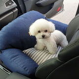 Denim Pet Car Seat with Safety Belt