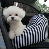 Striped Pet Car Seat with Safety Belt