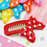 Puffy Dotted Ribbon Comb Hair Clip