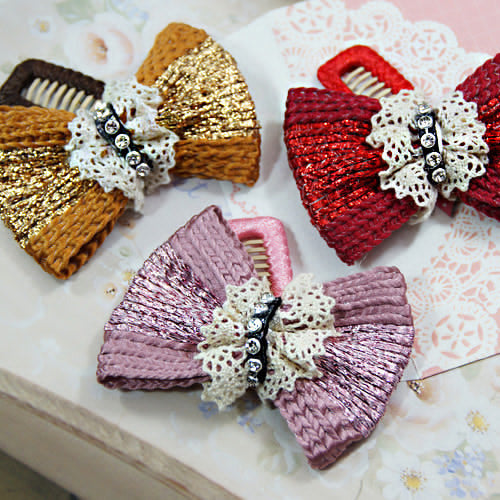 Knitted Ribbon Comb Hair Clip