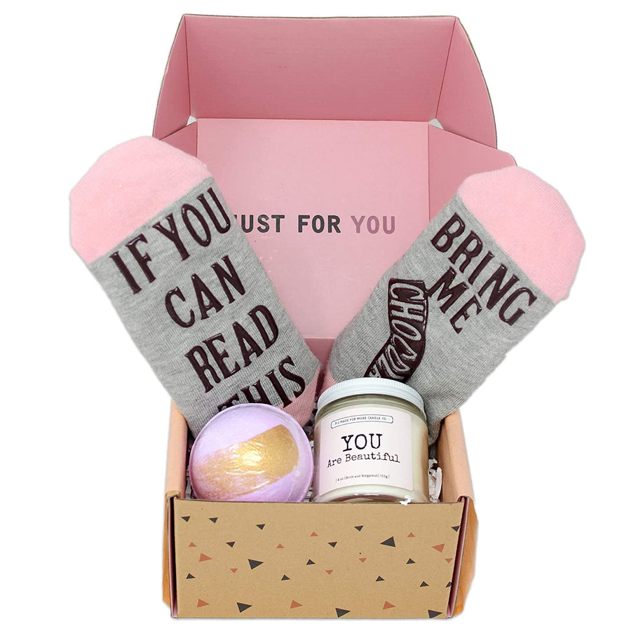 Special Birthday Womens Gift Basket Box Set for Her- With a Fancy Notebook, Natural 9'x6' Travel Cosmetic Bag, Funny socks, and a Relaxing Bath Salt-Mothers day gifts