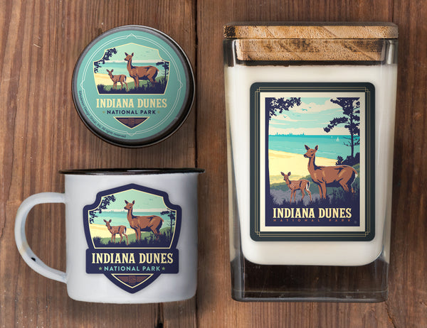 Indiana Dunes Set of 3 Candles: Deer
