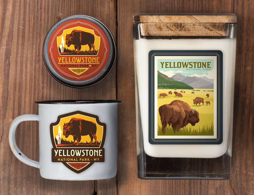 Yellowstone Set of 3 Candles: Bison Herd