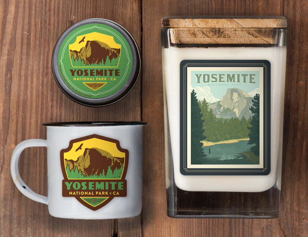 Yosemite Set of 3 Candles: Half Dome from the River