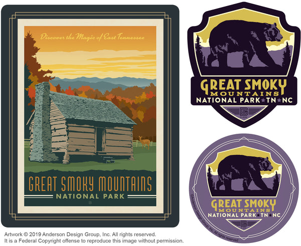 Great Smoky Mountains Set of 3 Candles: Cabin