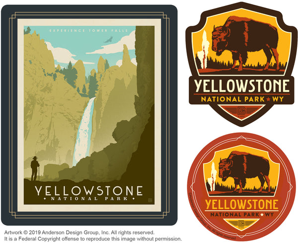 Yellowstone Set of 3 Candles: Tower Falls