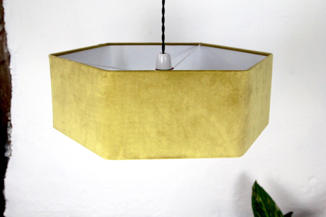 Hexagonal mustard lampshade