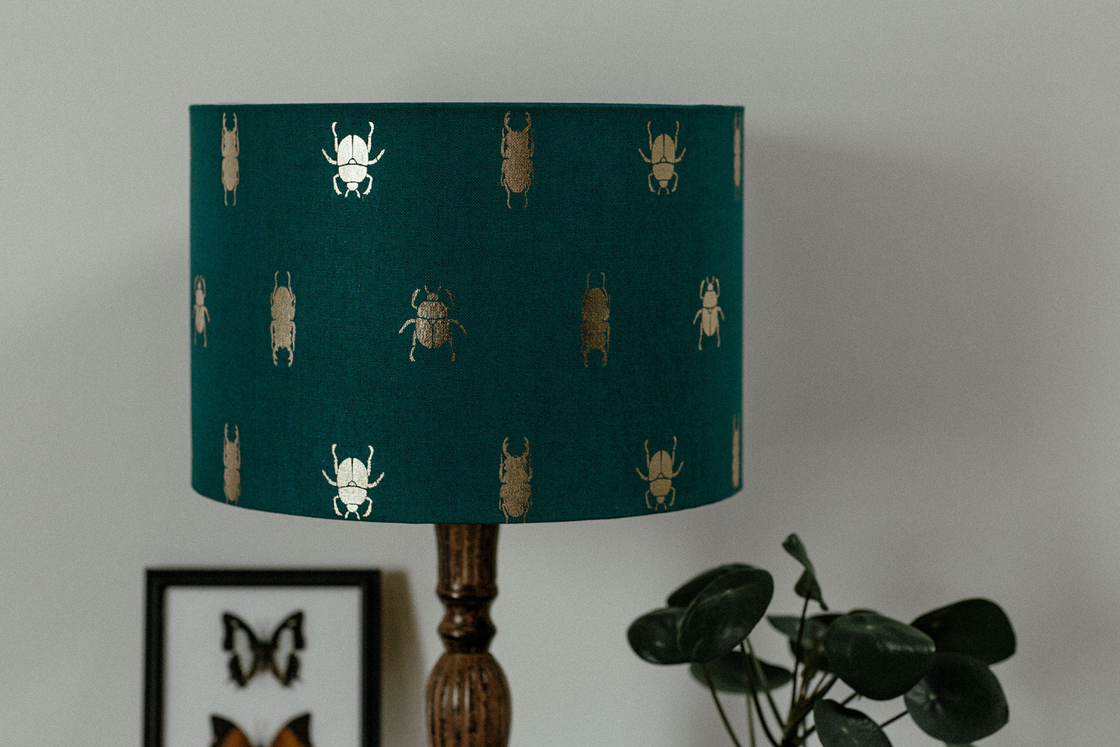 Golden bugs lampshade with gold lining