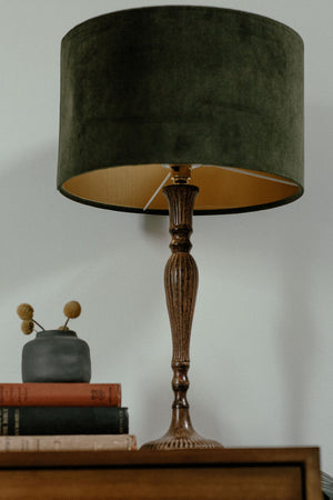 Chive green velvet lampshade with gold lining