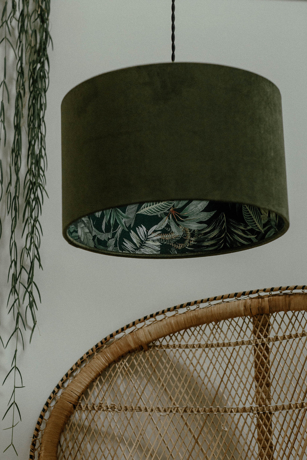Dark jungle silhouette lampshade with green velvet
