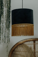 Load image into Gallery viewer, Grey velvet lampshade with gold fringe