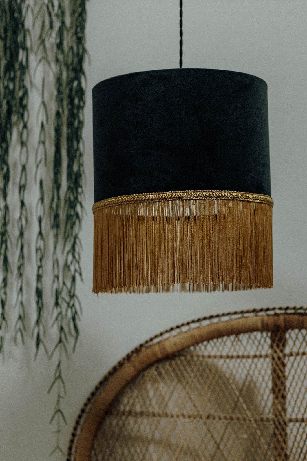 Grey velvet lampshade with gold fringe