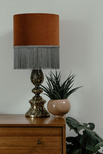 Load image into Gallery viewer, Rust velvet lampshade with grey fringe - 40cm