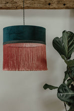 Load image into Gallery viewer, Indigo velvet lampshade with pink fringe