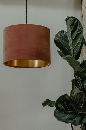 Blush pink velvet lampshade with gold lining