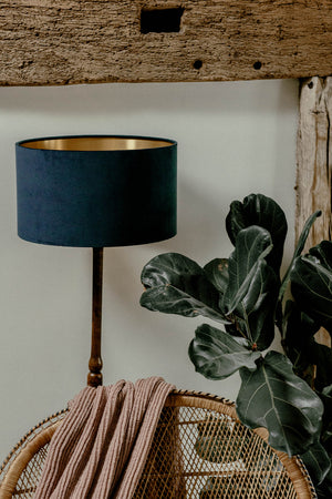 Indigo blue velvet lampshade with gold lining