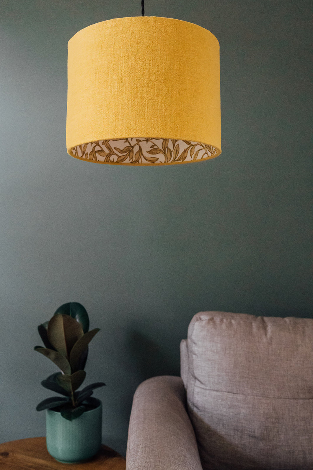 Mustard linen shade with gold leaf print lining