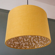 Load image into Gallery viewer, Mustard linen shade with gold leaf print lining