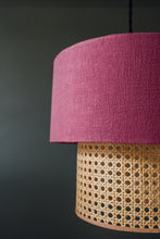 Load image into Gallery viewer, Two-tiered rattan and cerise linen lampshade