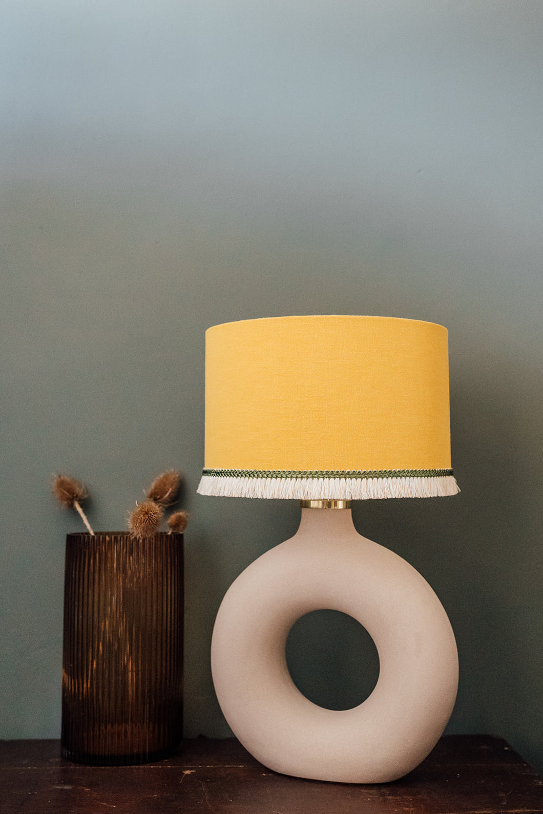 Mustard linen lampshade with soft linen fringing