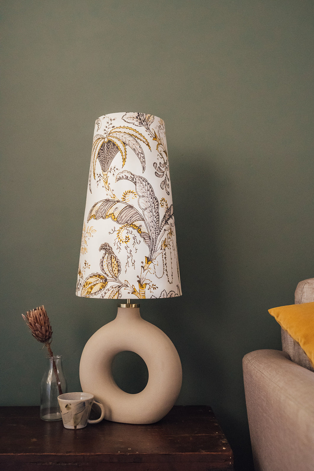 Mustard and grey pattern cone lampshade