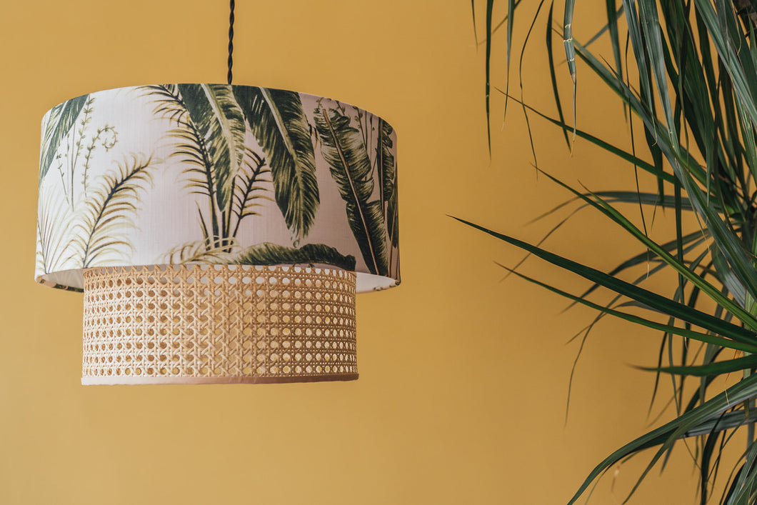 Two-tiered rattan and tropical leaf lampshade