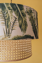 Load image into Gallery viewer, Two-tiered rattan and tropical leaf lampshade