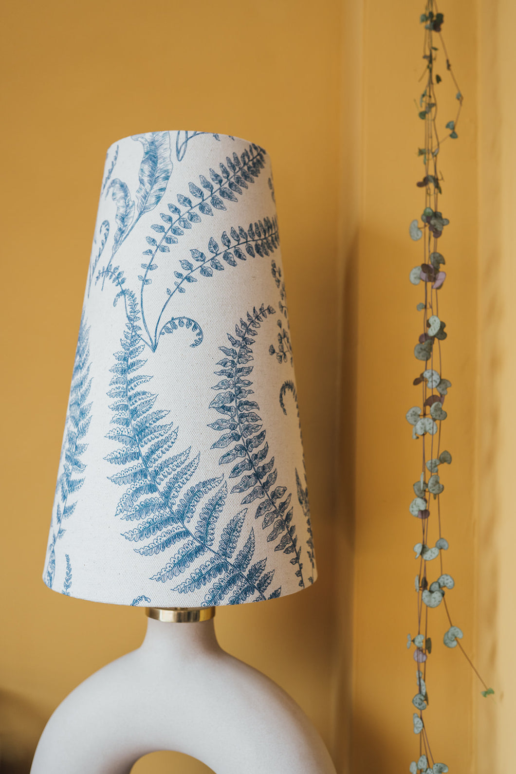 Fern print cone lampshade