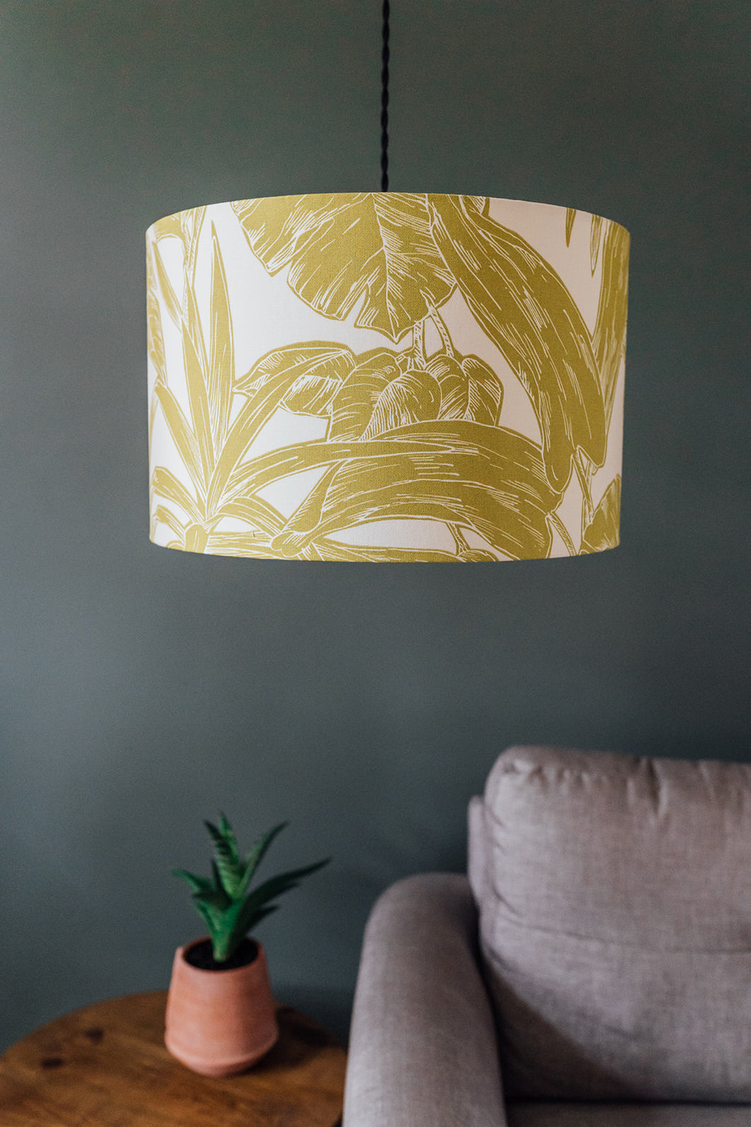 Chartreuse Palm Print lampshade
