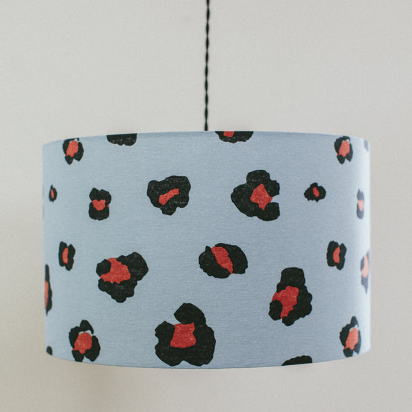 Blue and burnt orange leopard spot drum shape lampshade