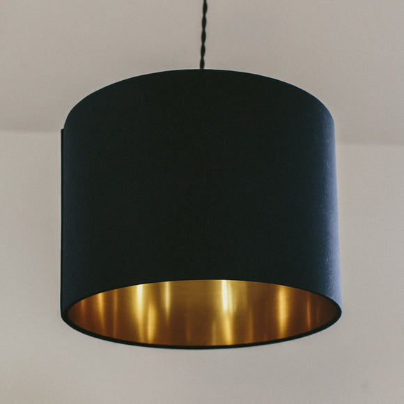 Black cotton with gold lining drum shape lampshade