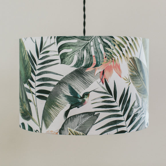 White jungle drum shape lampshade