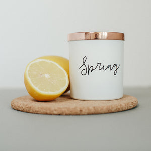 Spring scented natural wax candle