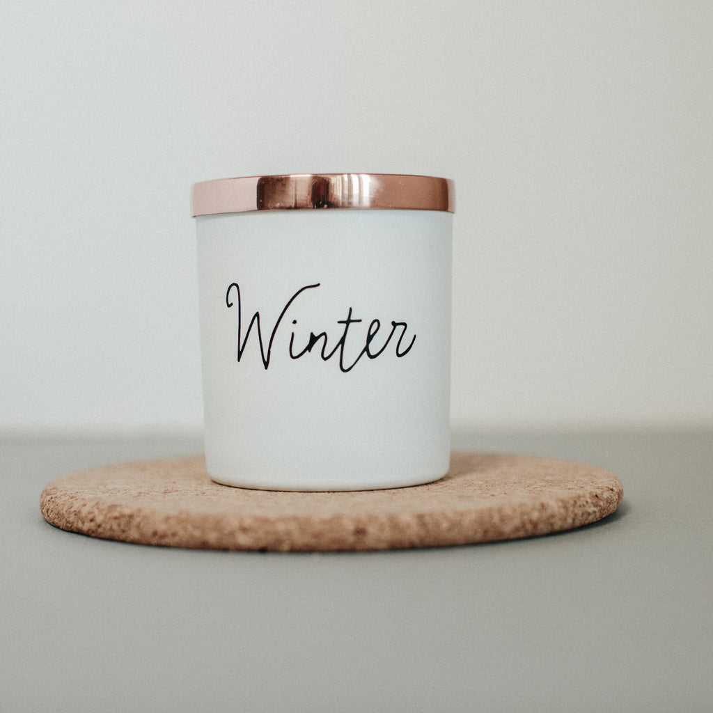 Winter scented natural wax candle