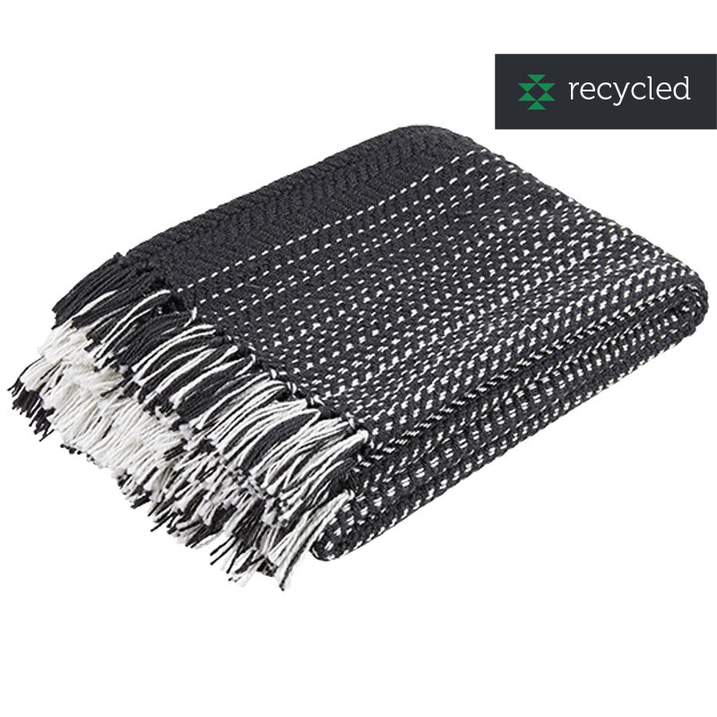 Recycled plastic woolen throw - black & white