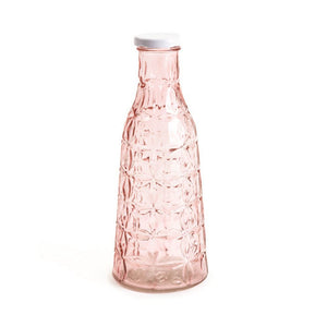 Rose pink glass bottle