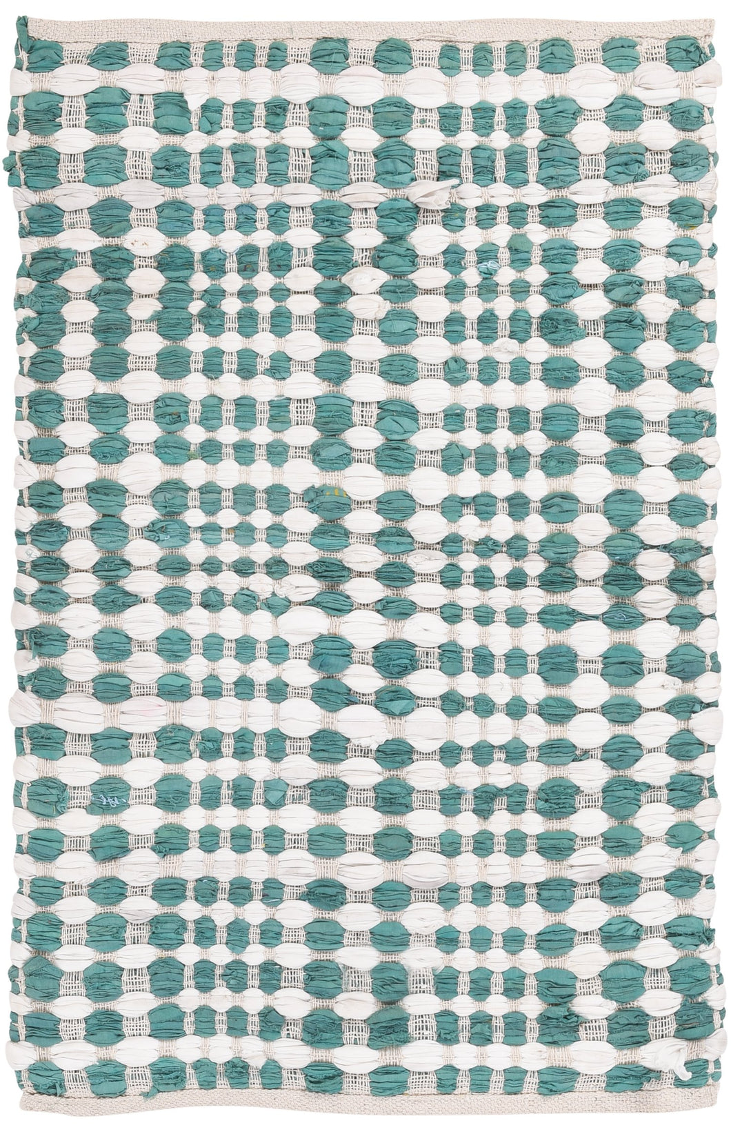 Green + white cotton slub rug