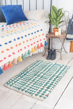 Load image into Gallery viewer, Green + white cotton slub rug