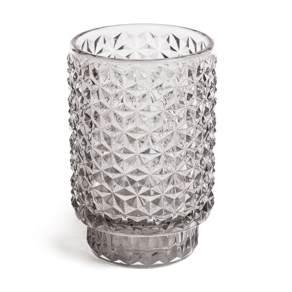 Grey embossed glass candle pot