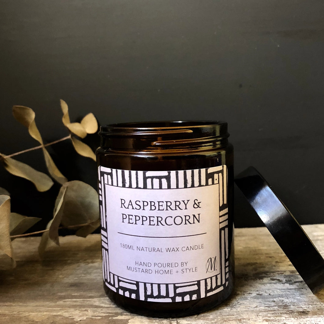 Raspberry + Peppercorn scented natural wax candle