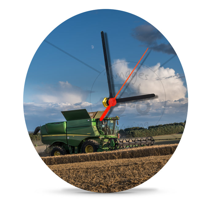 20cm Clock Printed With a John Deere Combine Cutting Wheat