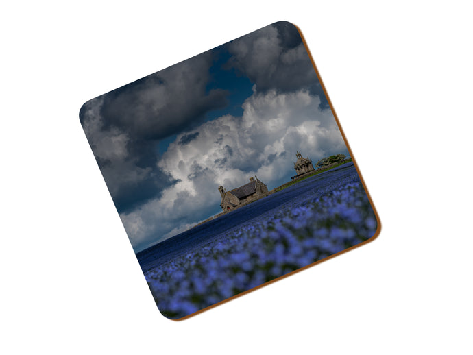 Printed Coaster With A View Across A Field Of Linseed
