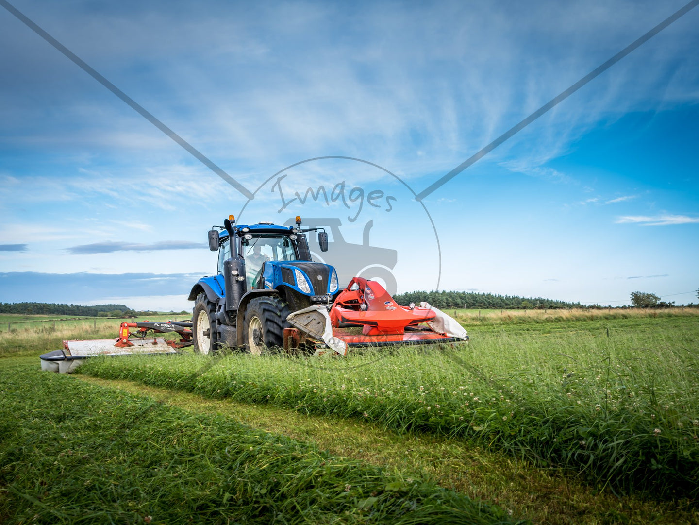 Print of a New Holland T8 / Kuhn Mowing In Gloss|Sepia|Acrylic