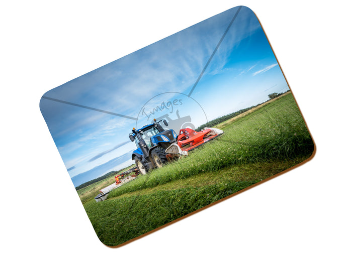Printed Place Mat With A New Holland T8 Mowing