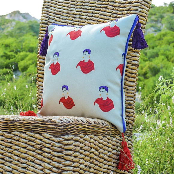 Frida Embroidered Stamp Pillow Case