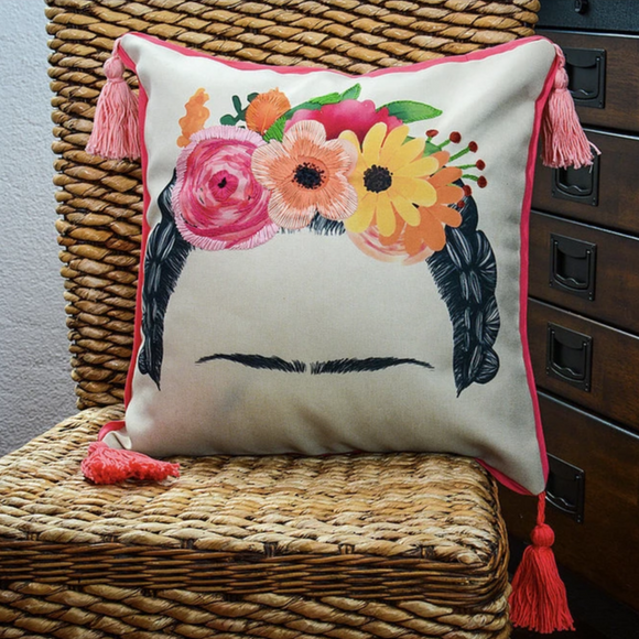 Frida Embroidered Flower Crown Pillow Case