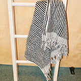 Black and Gray Textured Turkish Towel