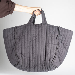 Large padded, quilted tote bag, grey garment dyed linen